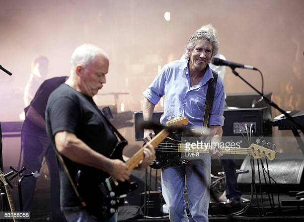 Musicians David Gilmour and Roger Waters of Pink Floyd perform on stage at Live 8 London in Hyde Park on July 2 2005 in London England The free...