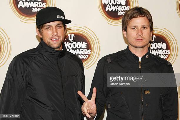 Musicians David Kennedy and Tom Delonge of Angels and Airwaves attend the 2007 mtvU Woodie Awards at the Roseland Ballroom on November 8 2007 in New...