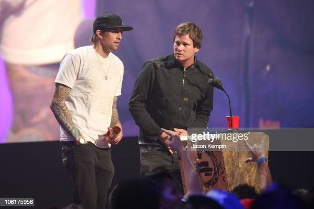 Musicians David Kennedy and Tom Delonge of Angels and Airwaves on stage during the 2007 MtvU Woodie Awards at Roseland Ballroom on November 8 2007 in...