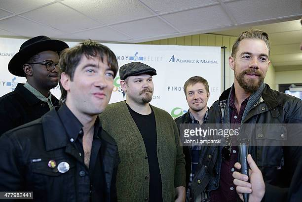 Musicians De Mar Hamilton, Tom Higgenson, Mike Retondo, Dave Tirio and Tim Lopez of the group Plain White T's attends the Pinoy Relief Benefit...