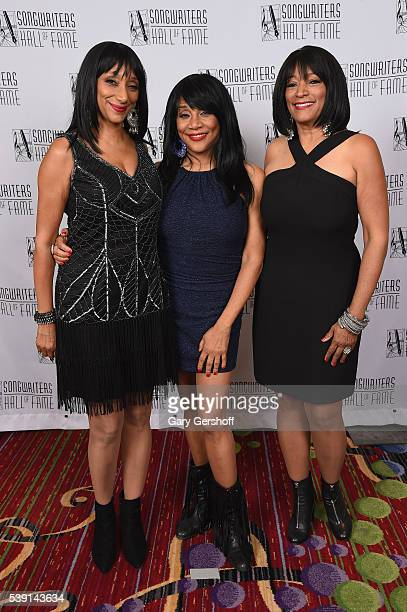 Musicians Debbie Sledge Joni Sledge and Kim Sledge attend Songwriters Hall Of Fame 47th Annual Induction And Awards at Marriott Marquis Hotel on June...