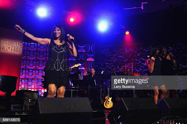 Musicians Debbie Sledge Joni Sledge and Kim Sledge perform onstage during the Songwriters Hall Of Fame 47th Annual Induction And Awards at Marriott...