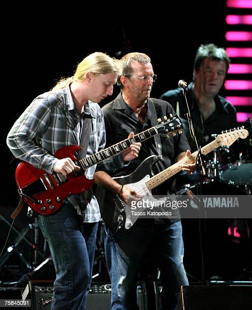 Musicians Derek Trucks and Eric Clapton perform during the Crossroads Guitar Festival 2007 held at Toyota Park on July 28 2007 in Bridgeview Illinois