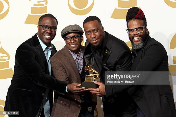 Musicians Derrick Hodge Chris Dave Robert Glasper and Casey Bengamin winners of Best RB Album for Black Radio poses in the press room at the 55th...