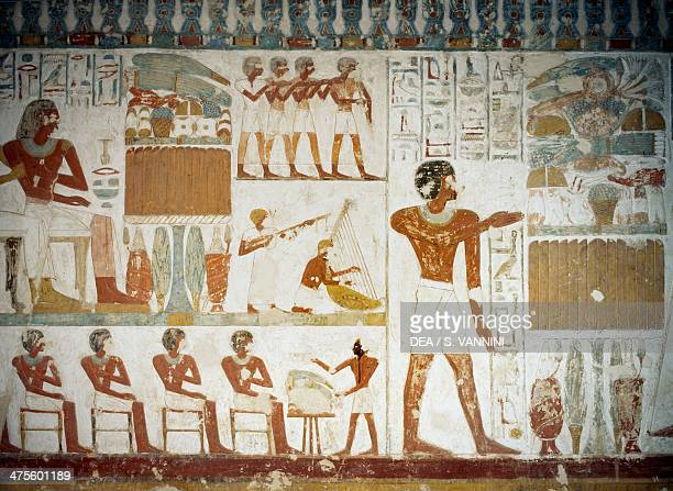 Musicians detail from the frescoes in the Tomb of Userhat Sheikh Abd el Qurnah Necropolis Luxor Thebes Egypt Egyptian civilisation New Kingdom...