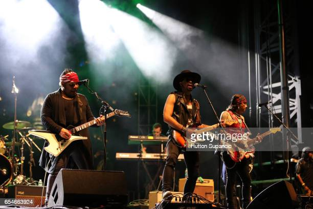 Musicians Dez Dickerson Andre Cymone and Micki Free perform onstage at the Prince Tribute Concert during 2017 SXSW Conference and Festivals at Lady...