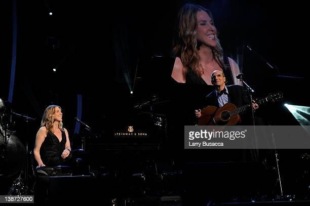 Musicians Diana Krall and James Taylor perform onstage at the 2012 MusiCares Person of the Year Tribute to Paul McCartney held at the Los Angeles...