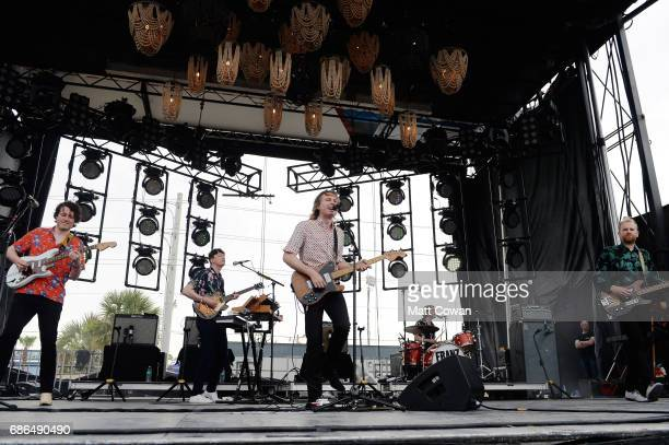 Musicians Dino Bardot Miaoux Miaoux Alex Kapranos Paul Thomson and Bob Hardy of Franz Ferdinand perform at the Katz's Stage during 2017 Hangout Music...