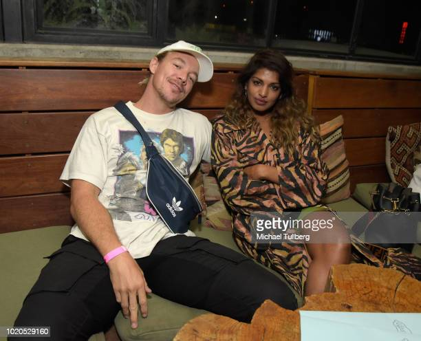 Musicians Diplo and MIA hang out at the after party for the premiere of Abramorama's 'Matangi/Maya/MIA' at The Theatre at Ace Hotel on August 20 2018...