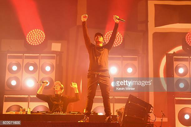 Musicians Diplo and record producer Walshy Fire of Major Lazer perform onstage during day 3 of the 2016 Coachella Valley Music And Arts Festival...