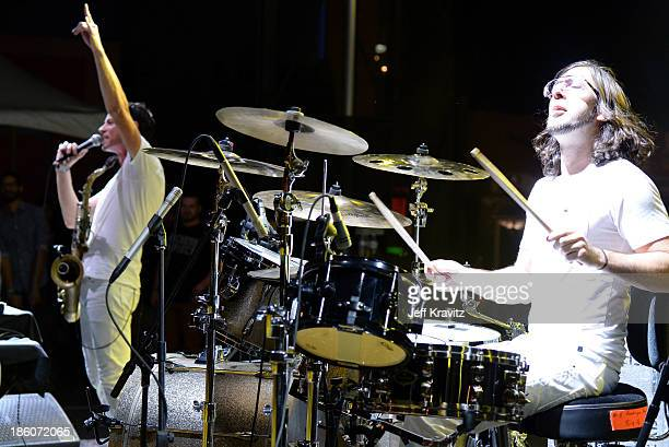 Musicians Dominic Lalli and Jeremy Salken of Big Gigantic perform onstage during day 2 of the Life is Beautiful festival on October 27 2013 in Las...