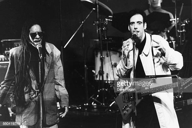 Musicians Don Letts and Mick Jones, of the band 'Big Audio Dynamite', performing on the television show 'The Tube', January 21st 1986.