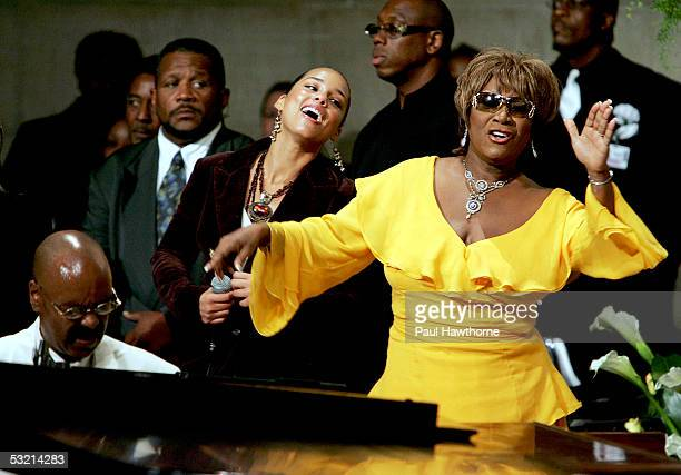 Musicians Donnie Harper Alicia Keys and Patti Labelle perform during the funeral of Luther Vandross at Riverside Church July 8 2005 in New York City