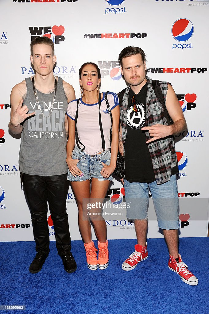 Musicians Donny Fontaine Holly Valentine And Preston Moronie Of Hyper Crush  Arrive At The Pepsi And
