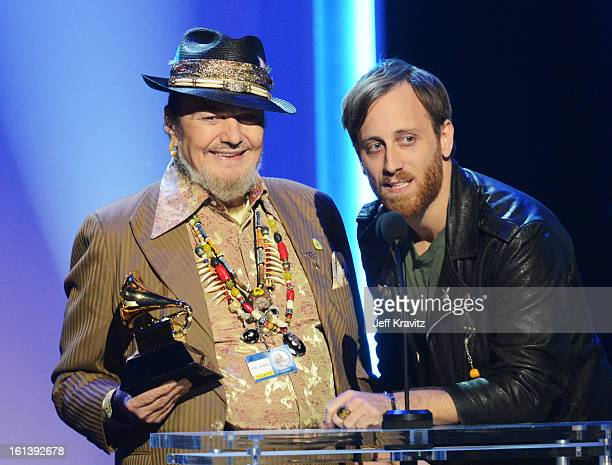 Musicians Dr John and Dan Auerbach accept an award onstage during the 55th Annual GRAMMY Awards at Nokia Theatre LA Live on February 10 2013 in Los...