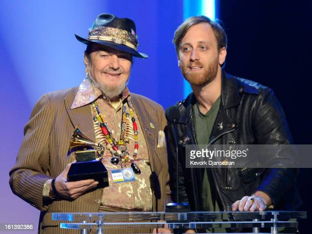 Musicians Dr John and Dan Auerbach accept Best Blues Album award for 'Locked Down' onstage at the The 55th Annual GRAMMY Awards at Nokia Theatre on...