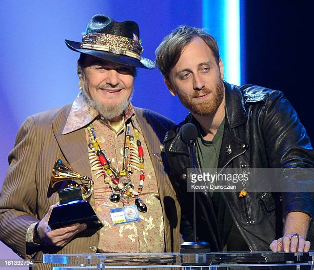 """Musicians Dr. John and Dan Auerbach accept Best Blues Album award for """"Locked Down"""" onstage at the The 55th Annual GRAMMY Awards at Nokia Theatre on..."""