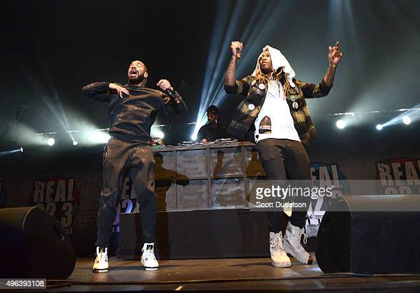 Musicians Drake and Future perform onstage during REAL 923's 'The Real Show' at The Forum on November 8 2015 in Inglewood California