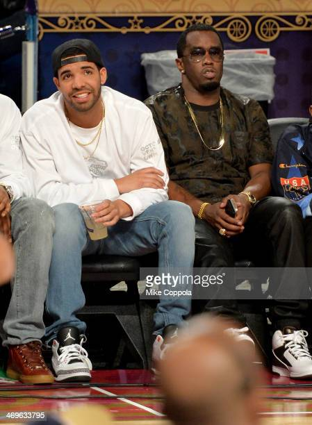 Musicians Drake and Sean Combs attend the State Farm AllStar Saturday Night during the NBA AllStar Weekend 2014 at The Smoothie King Center on...