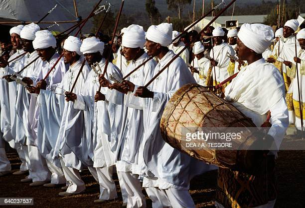 Musicians dressed in white during the Timkat festival Coptic Epiphany Ethiopia