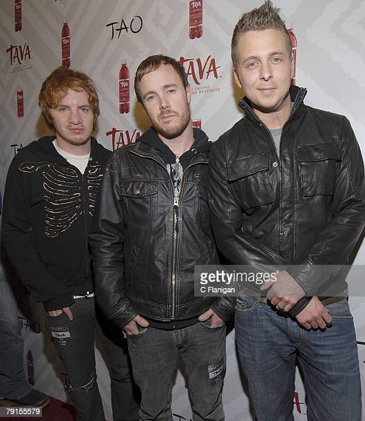 Musicians Drew Brown Eddie Fisher and Ryan Tedder of OneRepublic attend the Tava Launch Party featuring OneRepublic at TAO nightclub in Park City...