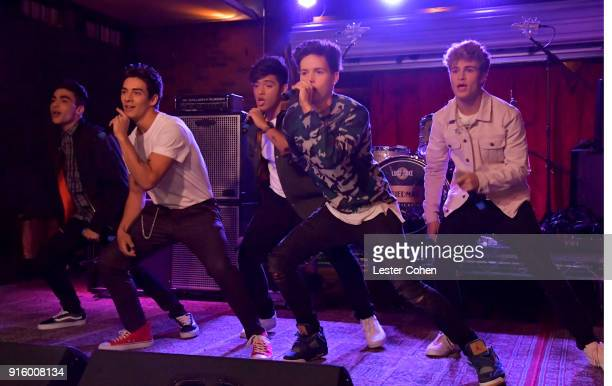 Musicians Drew Ramos Chance Perez Sergio Calderon Michael Conor and Brady Tutton of In Real Life perform on February 7 2018 in Los Angeles California