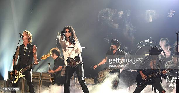 Musicians Duff McKagan Alice Cooper Johnny Depp and Joe Perry of The Hollywood Vampires onstage during The 58th GRAMMY Awards at Staples Center on...