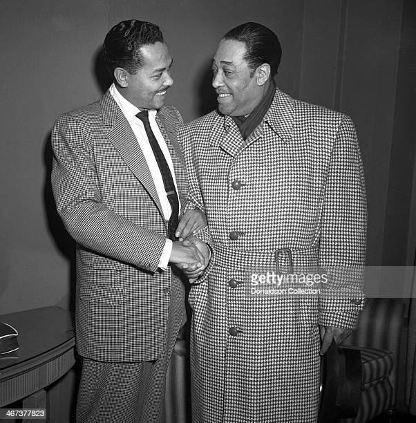 Musicians Duke Ellington and Billy Eckstine backstage at Carnegie Hall on December 1, 1951 in New York, New York.