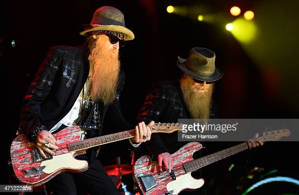 Musicians Dusty Hill and Billy Gibbons of ZZ Top perform onstage during day two of 2015 Stagecoach, California's Country Music Festival, at The...