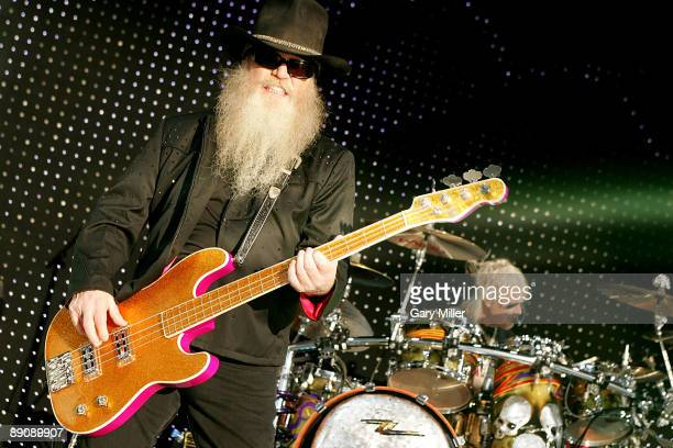 Musicians Dusty Hill and Frank Beard of ZZ Top perform in concert at The Cynthia Woods Mitchell Pavilion on July 17 2009 in The Woodlands Texas