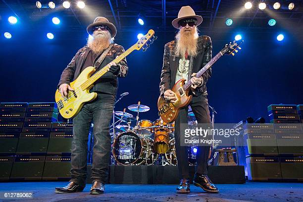 Musicians Dusty Hill Frank Beard and Billy Gibbons of ZZ Top perform on stage at Humphrey's on October 4 2016 in San Diego California