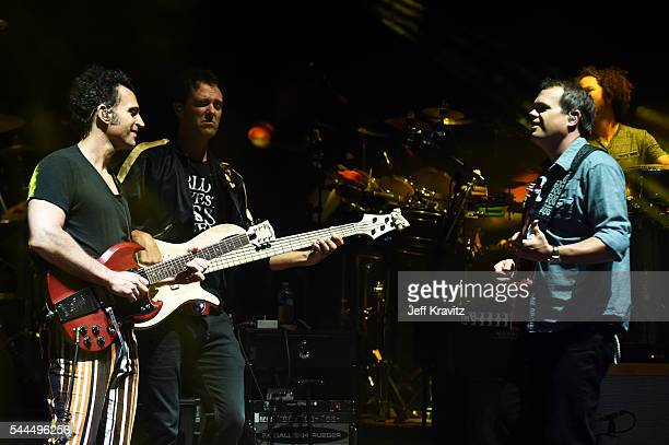 Musicians Dweezil Zappa Ryan Stasik Andy Farag and Brendan Bayliss perform with Umphrey's McGee at Red Rocks Amphitheatre on July 2 2016 in Morrison...