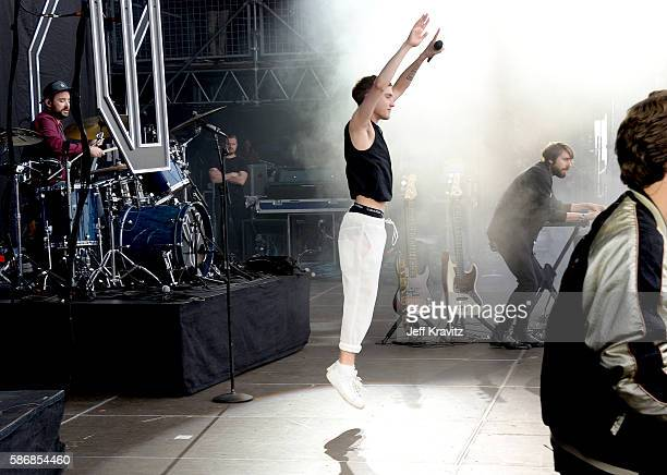 Musicians Dylan Bell Olly Alexander and Mikey Goldsworthy of Years Years perform on the Lands End Stage during the 2016 Outside Lands Music And Arts...