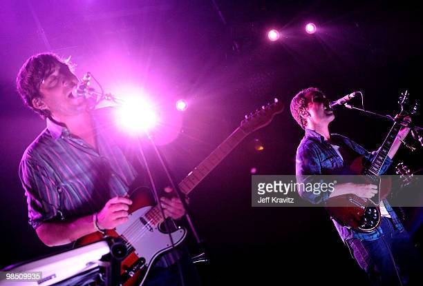 Musicians Ed Droste and Daniel Rossen of Grizzly Bear performs during day 1 of the Coachella Valley Music Arts Festival 2010 held at The Empire Polo...