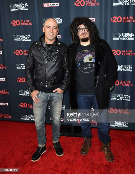 Musicians Ed Kowalczyk of Live and Adam Duritz of Counting Crows attend Live Nation's celebration of the 4th annual National Concert Week at Live...