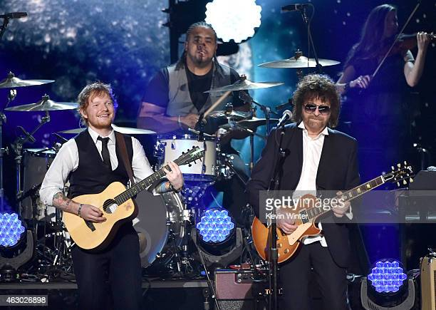 Musicians Ed Sheeran and Jeff Lynne of ELO perform onstage during The 57th Annual GRAMMY Awards at the STAPLES Center on February 8 2015 in Los...