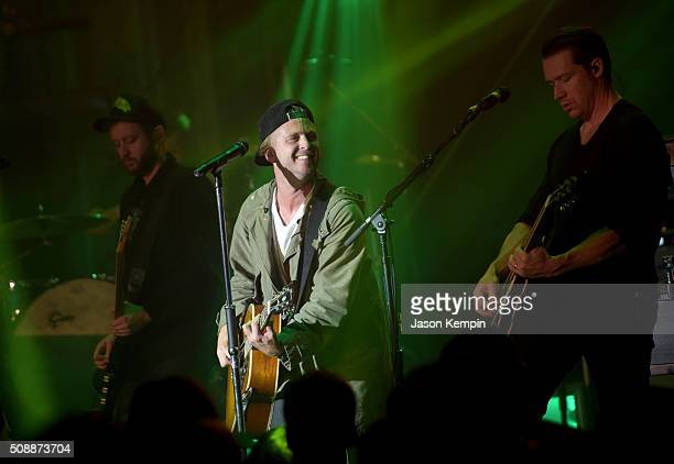 Musicians Eddie Fisher Ryan Tedder and Zach Filkins of OneRepublic perform at the Bud Light Super Bowl 50 party at Ruby Skye in San Francisco Bud...