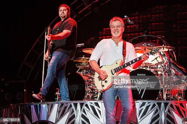 Musicians Eddie Van Halen and Wolfgang Van Halen of Van Halen perform on stage at Sleep Train Amphitheatre on September 30, 2015 in Chula Vista,...