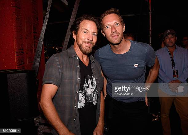 Musicians Eddie Vedder and Chris Martin attend the 2016 Global Citizen Festival In Central Park To End Extreme Poverty By 2030 at Central Park on...
