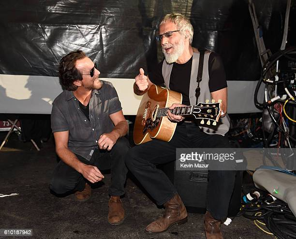 Musicians Eddie Vedder and Yusuf / Cat Stevens pose backstage at the 2016 Global Citizen Festival In Central Park To End Extreme Poverty By 2030 at...