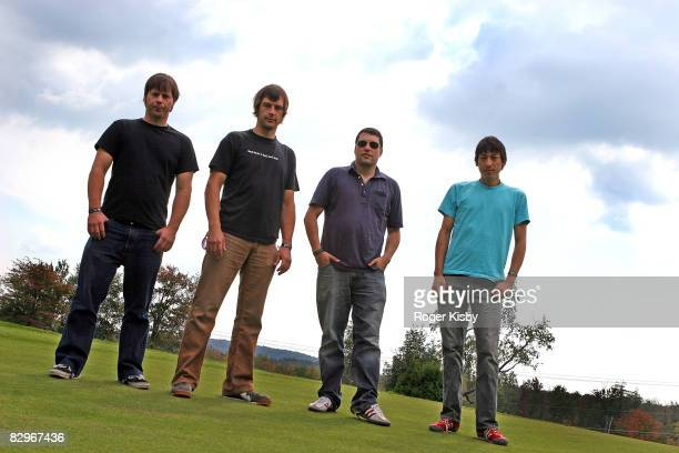 Musicians Eddie Watkins, Steve Popson, Dave Brylawski and Ash Bowie of Polvo pose during the ATP New York 2008 music festival at Kutshers Country...
