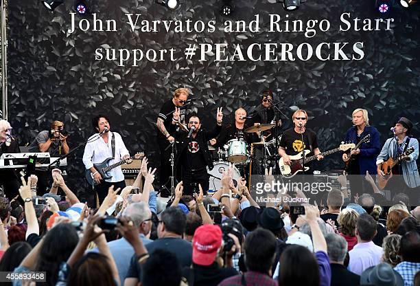 Musicians Edgar Winter Steve Lukather Ringo Starr Gregg Bissonette Richard Page Joe Walsh and Nils Lofgren perform onstage during John Varvatos'...