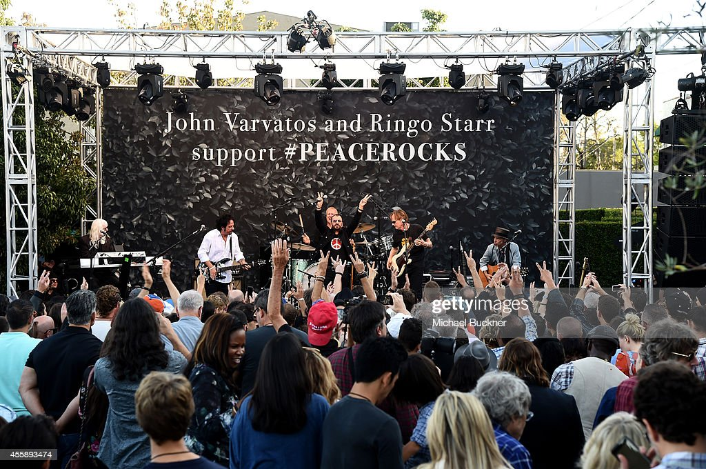 Musicians Edgar Winter, Steve Lukather, Ringo Starr, Richard Page and Nils Lofgren perform onstage during John Varvatos' International Day of Peace Celebration with a special performance by Ringo Starr & His All Starr Band at the John Varvatos Boutique on September 21, 2014 in West Hollywood, California.