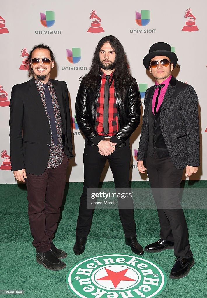 Musicians Eduardo Benatar, Willbert Alvarez and Carlos Mendoza of Luz Verde attend the 15th Annual Latin GRAMMY Awards at the MGM Grand Garden Arena on November 20, 2014 in Las Vegas, Nevada.