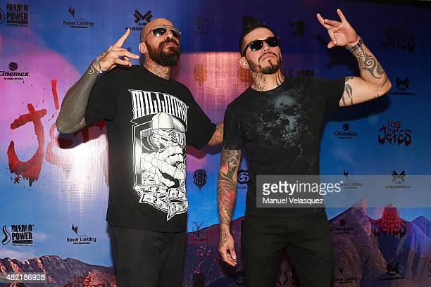 Musicians Eduardo Davalos and Rowan Rabia of Mexican band Cartel de Santa during 'Los jefes' film red carpet at Cinemex Patriotismo Cinema on July 27...