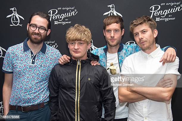 Musicians Edward Ibbotson, Dominic Sennett, Samuel Fry and Micky Osment of Life in Film attend the Original Penguin 60th anniversary party at...