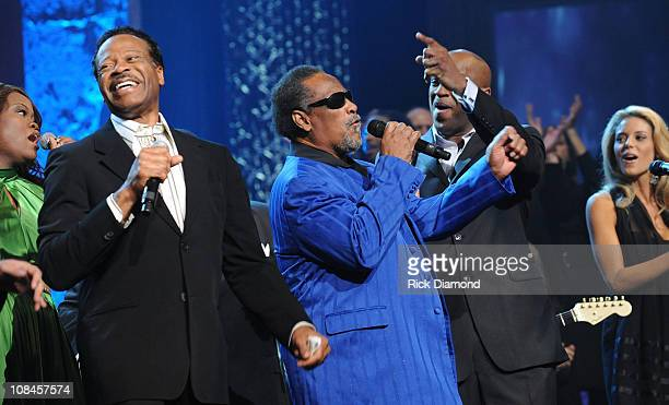 Musicians Edwin Hawkins and The Blind Boys of Alabama perform onstage at the 40th Annual GMA Dove Awards held at the Grand Ole Opry House on April 23...