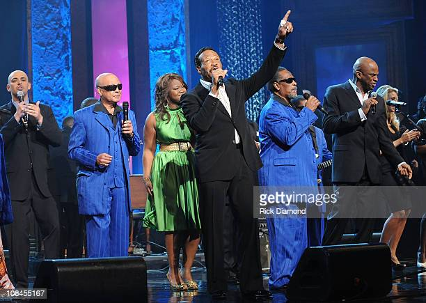 Musicians Edwin Hawkins Phil Stacey and the Blind Boys of Alabama perform onstage at the 40th Annual GMA Dove Awards held at the Grand Ole Opry House...