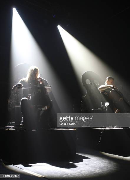 Musicians Eicca Toppinen and Paavo Lotjonen of Apocalyptica perform in concert at Astoria on December 11 2007 in London England The Finnish cello...