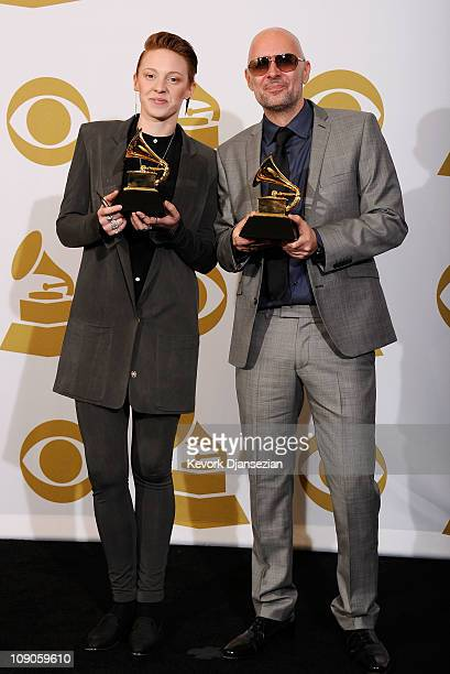 Musicians Eleanor Kate Jackson and Ben Langmaid of La Roux winners of the Best Electronic/Dance Album award for 'La Roux' pose in the press room at...